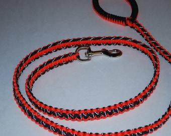 Orange & Reflective Black Paracord Leash