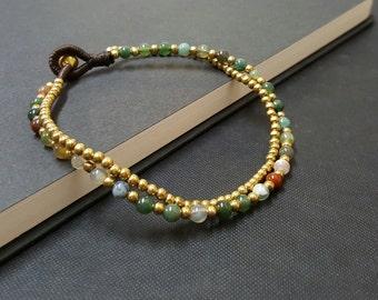 Jasper  Brass Chain Anklet