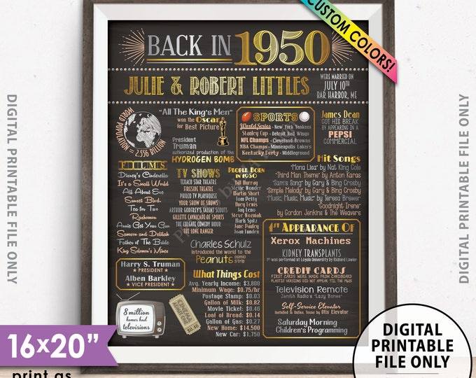 "68th Anniversary Poster, Flashback to 1950 Anniversary Party Decor, Married in 1950, Custom Chalkboard Style PRINTABLE 8x10/16x20"" 1950 Sign"