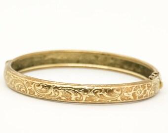 Vintage Etched Bangle - Vintage Gold Tone Bracelet - Vintage Bracelet - 1950's Bracelet - Gift for her - Mom Gift - Fashionista Gift