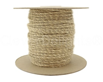 50 Yds - Ivory / Natural Twisted Jute Twine - 3mm Premium Twine - Craft Bulk String Rope Cording - Gift Wrap, Packaging, Home and Garden