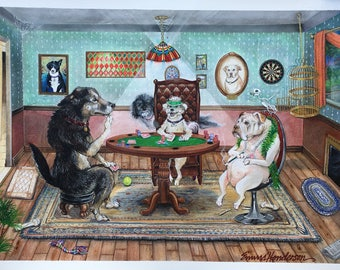 Haunted Dogs Playing Poker (prints)