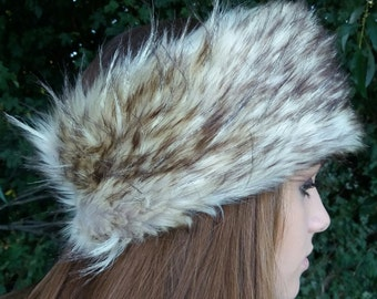 Light Coyote Faux Fur Headband / Neckwarmer / Earwarmer Handmade in Lancashire England