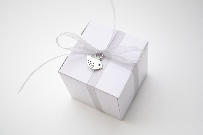 Bird wedding favor, white and silver, wedding favor boxes, wedding ...
