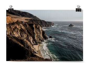 "Large Wall Art, Landscape Photography, Big Sur, Sunset Cliffs, West Coast, ""Sunset Cliff Overlook"""