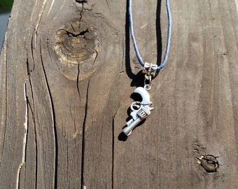 Silver Revolver Gun Large Hole Bead Necklace or Bracelet Charm - Black Faux Leather Necklace Cord