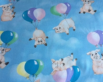 Pigs Flying Pigs When PIgs Fly Sky Balloons by Hoffman Fabrics