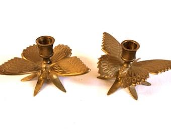 Vintage Brass Butterfly Candle holder set