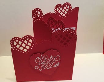 5 cascading heart valentines cards with matching envelopes