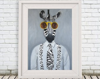 Zebra Print, Zebra Poster, black and white, Zebra Illustration, zebra painting, zebra decor, Sunglasses, Coco de Paris