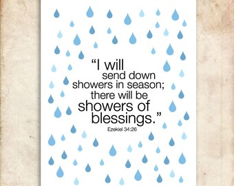 Ezekiel 34:26. Showers of blessing. 8x10 DIY Printable Christian Poster.Bible Verse.