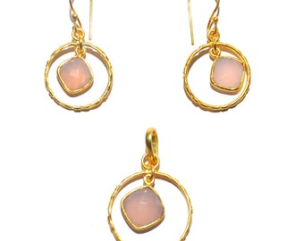 Pink Rose Chalcedony Pendant and Earring
