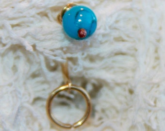 Belly Button Ring, Dainty Turquoise Belly Button Ring, Belly Button Jewelry, 18 16 14  gauge Belly Button Hoop