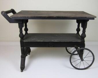 Vintage Folk Art Tea Cart/Server Cart