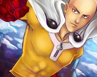 Saitama One Punch Man anime manga 11x17 print