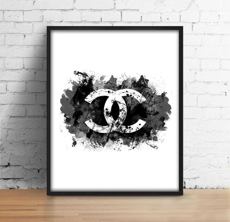 Coco Chanel watercolor sign digital print Modern printable
