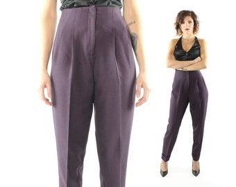 Vintage 80s High Waisted Trousers Tapered Leg Pants Pleated Cuffed Plum Purple Houndstooth 1980s Small S Leggings