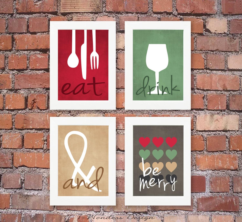 Modern Kitchen Art Set: Modern Kitchen Art Prints Eat Drink & Be Merry Set Of 4 4