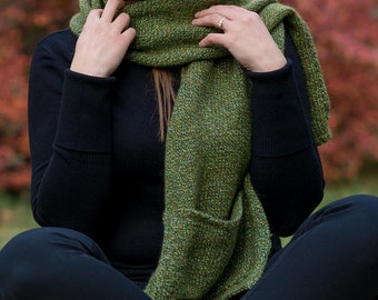 Infinity scarf Girls knit gift Green Neck warmer Knit scarf for her Winter scarf wool knitted Knit cowl neck scarf Wife gift idea birthday