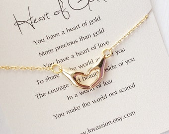 Gold Heart Hands Necklace, heart hands necklace, heart of gold, love in two hands necklace, quote, best friend, Mother's Day Gift, 16k gold