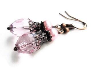 Crystal Earrings Wedding Jewelry Bohemian Earrings Bridesmaid Gift Victorian Earrings Pink Jewelry Gift For Her Dangle Earring Pink Earrings