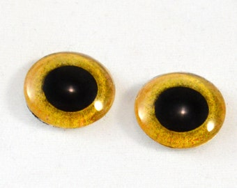 16mm Yellow Owl Glass Eye Cabochons - Taxidermy Eyes for Doll or Jewelry Making - Set of 2