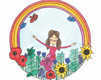 Praise the Creator - Girl Rainbow Butterflies Flower Art - Giclee Print - 8x10