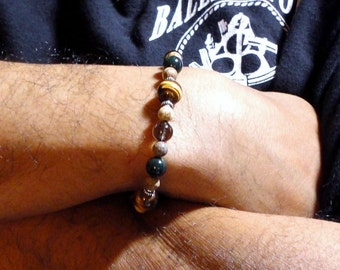 Men's Bracelet, Tiger Eye, Bloodstone, Smoky Quartz, Jasper, Brown Green Gemstone Mens Beaded Bracelet, for Guys, Dad, Him