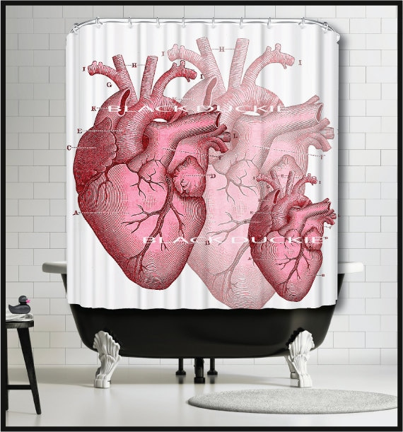 Human Heart Shower Curtain Anatomical Heart Shower Curtain