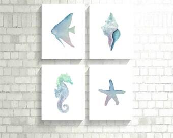 Ensemble imprimé côtière, ensemble de 4 impressions, aquarelle impression Decor ensemble, côtières ensemble, plage tirages, impression coquillage, hippocampe impression, sous la mer
