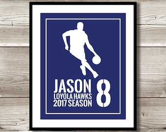 Basketball Art, Basketball Gift, Personalized Basketball Print, Basketball Wall Art, Basketball Team Gift, Digital Print