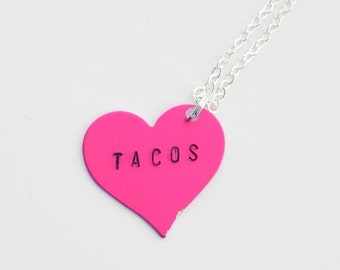 BFF Gift Ideas, Tacos Necklace, Tacos Jewelry, Tacos Accessories, Hand-stamped Necklace, Tacos Purse Charm, Taco Lover Gift, bff jewelry