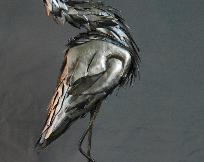Custom Blue Heron Made to Order Metal Sculpture By Jacob Novinger