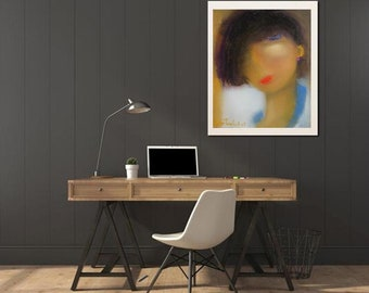 Abstract art female face portrait painting, fine art giclee print, fashion art,xl face art,lady painted,figurative wall canvas,XL art print