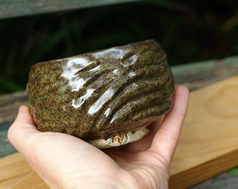 Carved stoneware tea bowl - matcha chawan