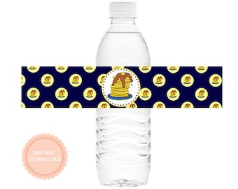 INSTANT DOWNLOAD, PANCAKES & Pajamas water bottle wraps ( Boys, Drink Wraps, Printable)