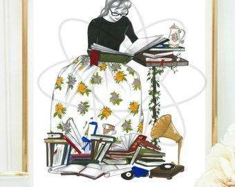 Wall Art, Girl Reading, Book Lovers Gift, Printable Art, Office Decor, Library Decor, Gift For Her, Book Nerd, Girls Room Decor, Dorm Decor