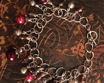 Burgundy Pearl with Swarovski Crystals