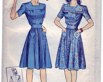 Vintage 1943 DuBarry 5587 Sewing Pattern Misses' One-Piece Dress Size 12 Bust 30