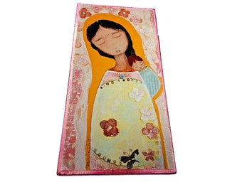 Mother of Peace -  Giclee print mounted on Wood (5 x 10 inches) Folk Art  by FLOR LARIOS