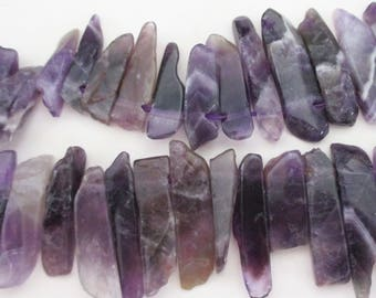 Amethyst Purple Spike Beads - Amethyst Stick Point Briolette - Purple Nugget Stone - Long Large Polished Beads - 14 Pcs - Diy Jewelry Making