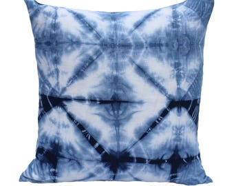 "Shibori Indigo Pillow Cover 20"" x 20"""
