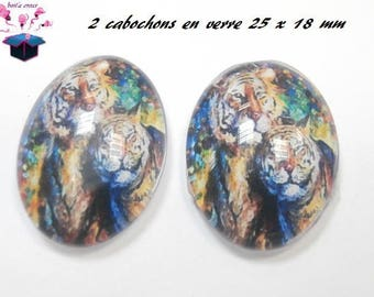 2 cabochons glass 25mm x 18mm lion theme