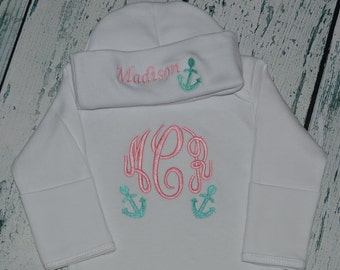 Monogrammed  Anchor Baby Gown and Cap Layette set Personalized Coming Home outift