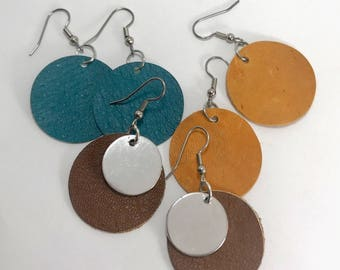 Leather Circle Earrings, Joanna Gaines inspired earrings, Genuine Leather or Suede Earrings, Leather jewelry, Colorful collection, blue