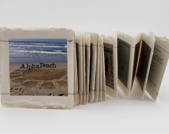 Beach, Artists' Book, Handmade Book, Miniature Artists' Book, Miniature Book, Handmade Book, Beach Photographs, Alphabet Book
