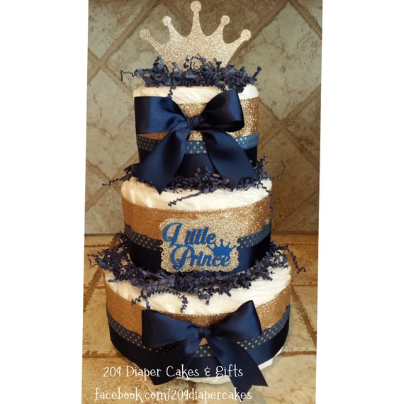 Glitter Gold & Blue Little Prince Crown Diaper Cake For Baby