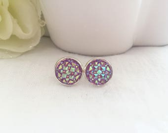 Purple Crystal Stud Earrings - Silver Earring Studs - Druzy Stud Earrings - Trendy Earrings for Girls - Sparkly Earrings - Post Earrings
