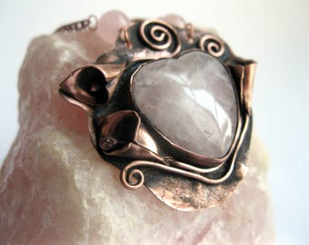 Handcrafted unique copper necklace pendant with rose quartz heart and calla lillys