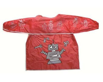 Child apron patterns red plastic robots / apron for kindergarten, painting or crafting
